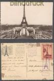 Frankreich AK Paris mit Eiffelturm und Eiffelturmstempel und -vignette Feldpost (45466)
